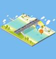 bridge and beach resort vector image