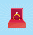 ring with diamond or jewel in box vector image