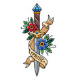 tattoo dagger with flowers and ribbonpride vector image