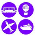 transport types flat papercut style circle vector image