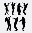Trumpet instrument music player silhouette vector image