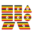 buttons with flag of Uganda vector image vector image