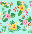 tropical floral pattern on aquamarine background vector image vector image