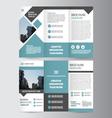 Blue square trifold business Leaflet Brochure set vector image