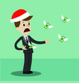 businessman or manager in christmas hat losing his vector image