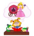 Girl dreams of becoming princess vector image