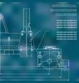 mechanical engineering drawings on a black vector image