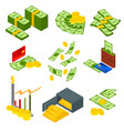 money signs icons set isometric view vector image