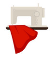 sewing machine and red cloth vector image