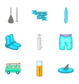 Surfing club icons set cartoon style vector image
