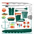 Big set of fishing elements vector image