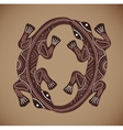 Print of ethnic ornament with two lizards vector image