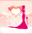 Abstract Beautiful floral bride card vector image vector image