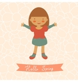 Hello spring card with cute little girl vector image