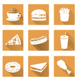 fast food flat orange icons with shadow set eps10 vector image