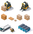 warehouse equipment icon set vector image