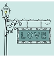 love text on vintage street sign vector image