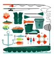 Big set of fishing elements vector image