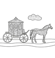 Carriage with horse coloring book vector image