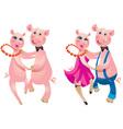 Cartoon of a happy couple pigs dancing vector image