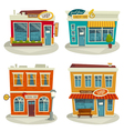 Cartoon shop building set isolated on white vector image