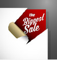 the biggest sale text uncovered from teared paper vector image