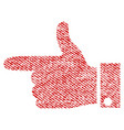 hand pointer left fabric textured icon vector image