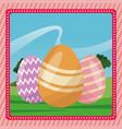 happy easter egg decorative pink background vector image