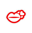 paper sticker on white background kiss heart vector image