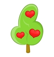 Abstract heart tree icon cartoon style vector image
