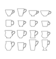 Set of mugs Cups for drinks Flat icons vector image