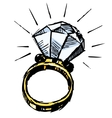 Ring with a big sparling diamond vector image