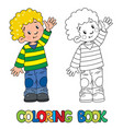 funny little boy coloring book vector image