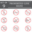 prohibited color line icon set red forbidden sign vector image