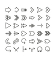 arrow thin line icon set Flat design vector image