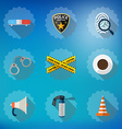 Police Sequrity Flat Icon Set Include road cone vector image