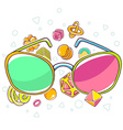 colorful of green and red sunglasses on whit vector image