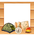 Border design with camping equipments vector image