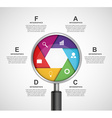 Abstract infographic with a magnifying glass vector image