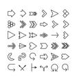 arrow thin line icon set Flat design vector image