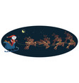 flying santa in a sleigh with deer christmas vector image