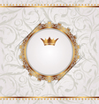 Golden vintage with heraldic crown seamless floral vector image