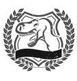 Grunge velociraptor head emblem vector image