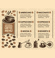 invitation in cafe menu of coffee house pictures vector image