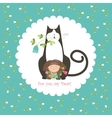 Little girl and her cat vector image