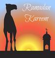 Ramadan greeting with camel Islamic greeting card vector image