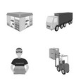 truck courier for delivery of pizza forklift vector image