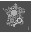 France map silhouette mosaic of cogs and gears vector image