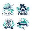fishing club or trip icons set vector image