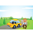 A man beside his yellow car with a flat tire vector image vector image